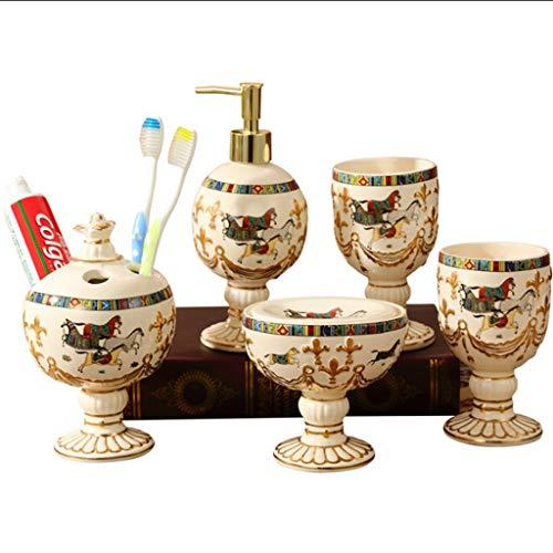 Cocina Set de accesorios de baño Juego de accesorios de encimera de tocador de cerámica for baño - Incluye dispensador de jabón recargable, soporte for cepillo de dientes, vaso de enjuague de vaso Jab