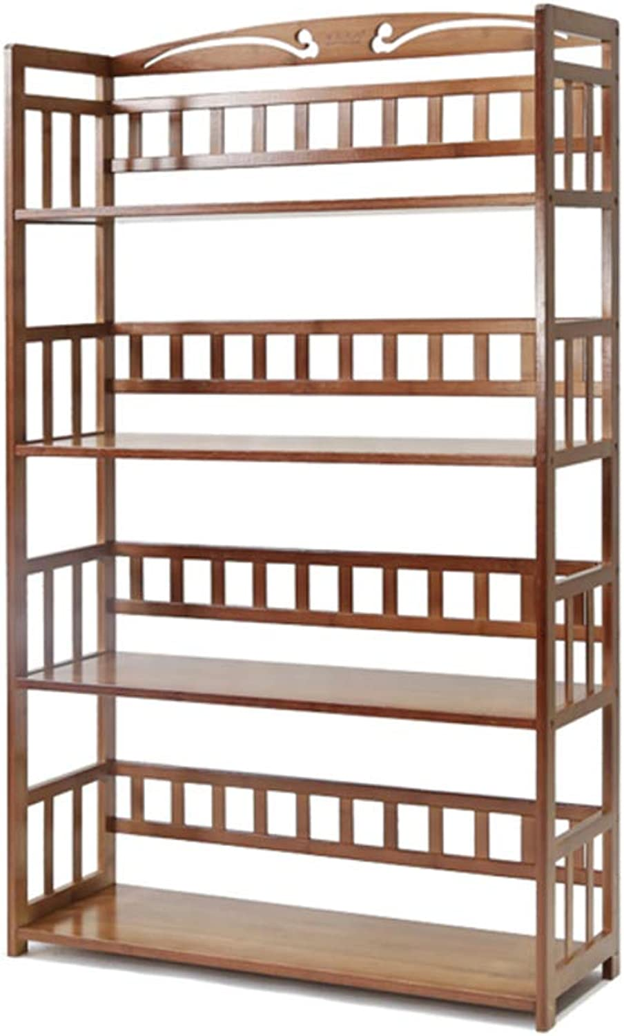 Multifunctional Bookshelf,3-5 Tier Bamboo naturalbookcase Storage Rack Thickened Open Wood Shelves for cds, Movies & Books -B 69x25x122cm(27x10x48inch)