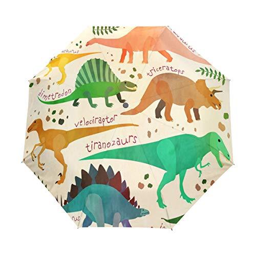 BIGJOKE - Paraguas de 3 Pliegues con Cierre automático, diseño de Dinosaurio Africano, Resistente al Viento, liviano, para Viajes, para Lluvia, Compacto, para niños y niñas