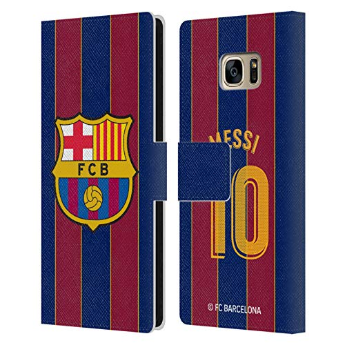 Head Case Designs Licenciado Oficialmente FC Barcelona Lionel Messi 2020/21 Players Home Kit Group 1 Carcasa de Cuero Tipo Libro Compatible con Samsung Galaxy S7 Edge