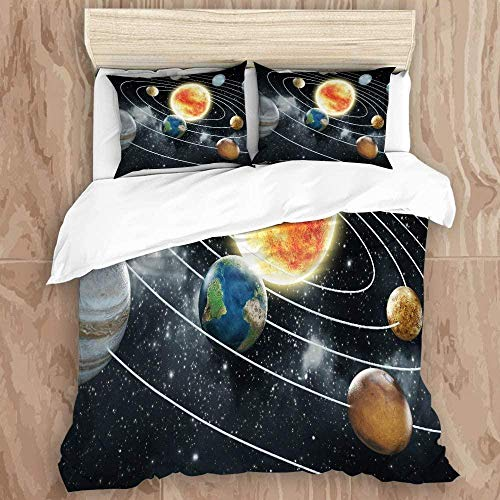 HUA JIE Bedding Sets Single,Duvet Cover Set,Outer Space Galaxy Stars In Space Celestial Astronomic Planets In The Universe Milky Waydecorative Bedding Set With Pillow Shams