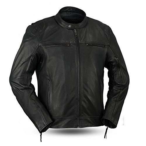 First MFG Co. - Top Performer - Men's Protective Biker Motorbike Motorcycle Leather Jacket (Black, 5X-Large)