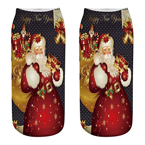 PPangUDing Weihnachten Socks Kuschelsocken Unisex Anti-Rutsch Gemütlich Cartoon Muster Gedruckt Bootssocken Haussocken Niedlich Lustig Design Weiche Warme Sportsocken Damensocken