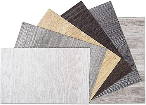 Art3d Peel and Stick Floor Tile Vinyl Wood Plank Samples Set of 6, Rigid Surface Hard Core Easy DIY Self-Adhesive Flooring