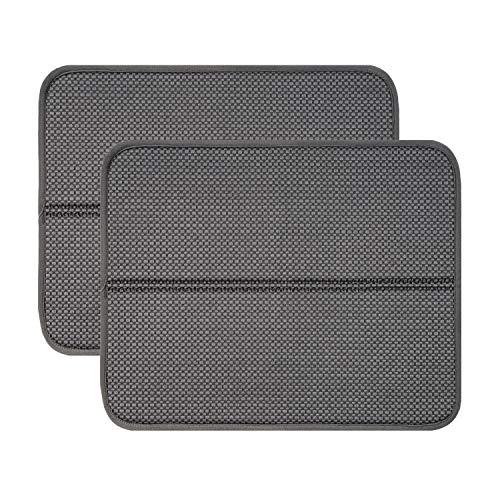 RECYCO Mikrofaser Abtropfmatte für Küche 44x36cm, 2 Stück, Spüle und Geschirr Trockenmatte Geschirrunterlage (grau)