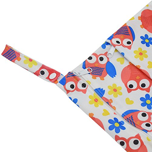 Baby Wet/Dry Bag Splice Cloth Diaper Waterproof Bags Large and Small Size with Zipper Snap Handle Pack of 2 (Monkey and Red Owls)