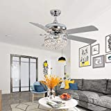 Tropwellhouse 52Inch Crystal Chrome Ceiling Fan with Light Gorgeous Crystal Fixture 3 Lights 5 Premium Wood Blade Chandelier Ceiling Fan Decorations for Modern Living Room Ceiling Fan with Remote