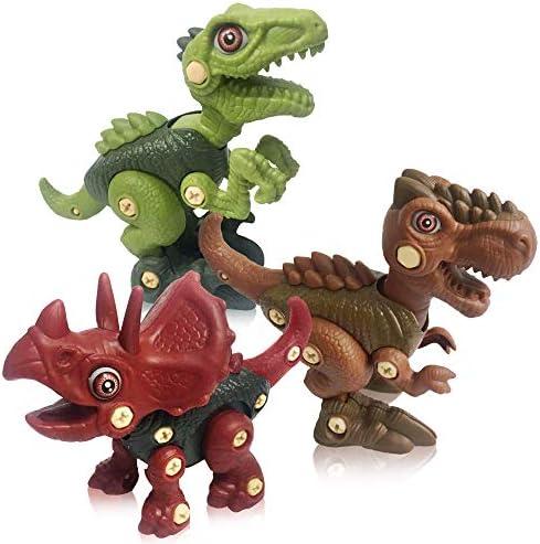 ATHENA FUTURES Take Apart Dinosaur Toys Building Set of Tyrannosaurus Triceratops Velociraptor product image