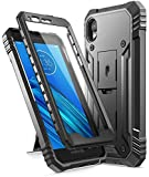 Poetic Revolution Series Designed for Motorola Moto E6, Full-Body Rugged Dual-Layer Shockproof Protective Cover with Kickstand and Built-in-Screen Protector, Black