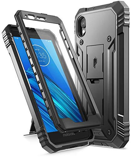 Poetic Revolution Series for Motorola Moto E6, Full-Body Rugged Dual-Layer Shockproof Protective Cover with Kickstand and Built-in-Screen Protector,...