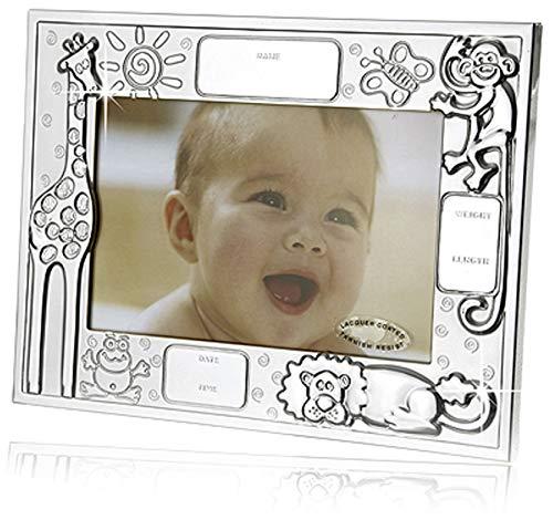 Cadre photo Animaux, avec gravure de la date de naissance, argenté