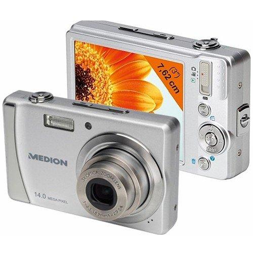 Medion Life P43008 Digitalkamera (14 Megapixel, 3-Fach Opt. Zoom, 7,6 cm (3 Zoll) Display, bildstabilisiert) Silber