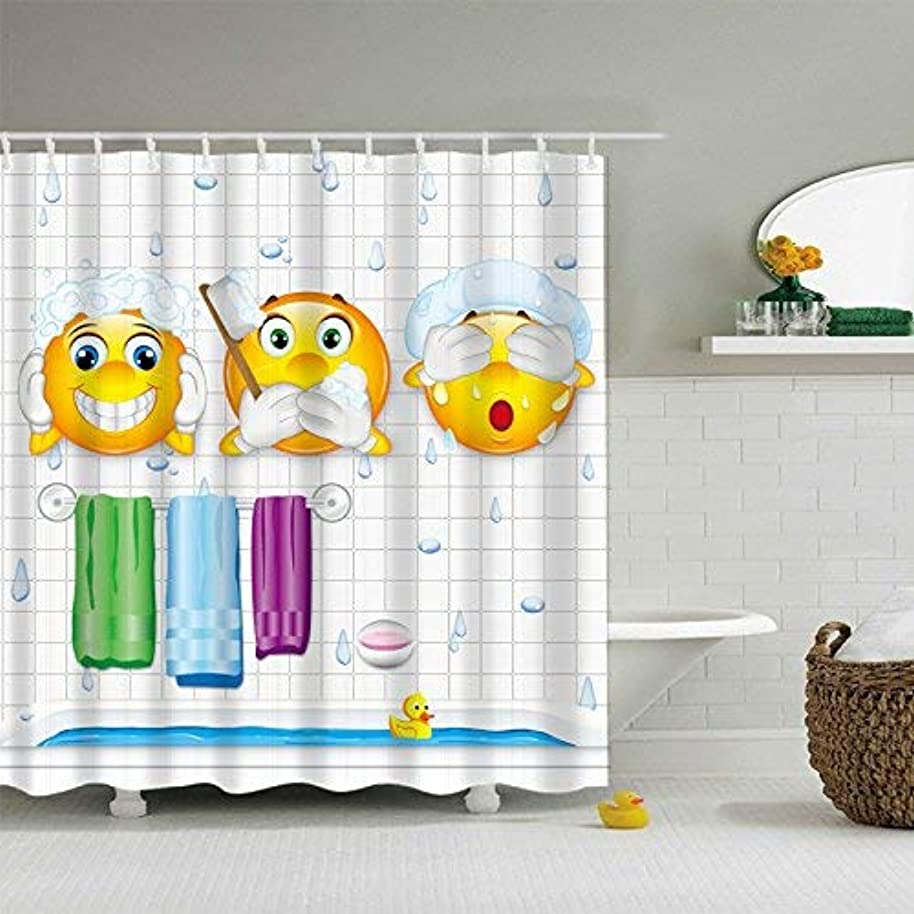 Maxwelly 3D Cute Shower Curtain Funny Expression Emoji Bathroom Shower Curtain with Hooks for Kids and Adults - Polyester Wateproof 72-Inch by 72-Inch
