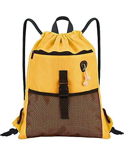 LIVACASA Mochilas de Cuerdas Mujer Hombre Bolsa de Cuerdas Bolsillos Mallas Exteriores A Prueba de Agua Toma USB para Auriculares Bolsa de Mano para Trabajo (Amarillo única, 43 * 33cm)