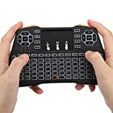 ASHATA Mini Tastiera Wireless, Mini Tastiera Wireless con touchpad Versione retroilluminata a LED Mini Tastiera QWERTY Wireless da 2,4 GHz, per Xbox 360, Raspberry Pi 3, Pad, Smart TV, PS4, PC