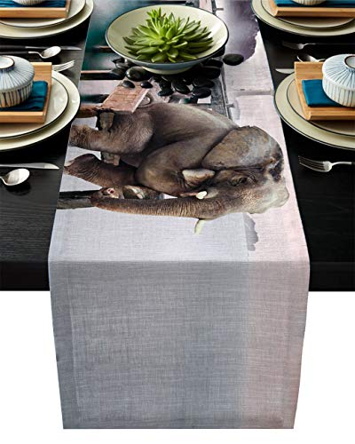 ABCrazy Dining Table Runner 14 x 72inch, Thinking Elephant Sitting on Pier Durable Table Covers Decoration for Family Dinner Kitchen Patios Coffee Table Everyday Use Tablecovers Multicolour