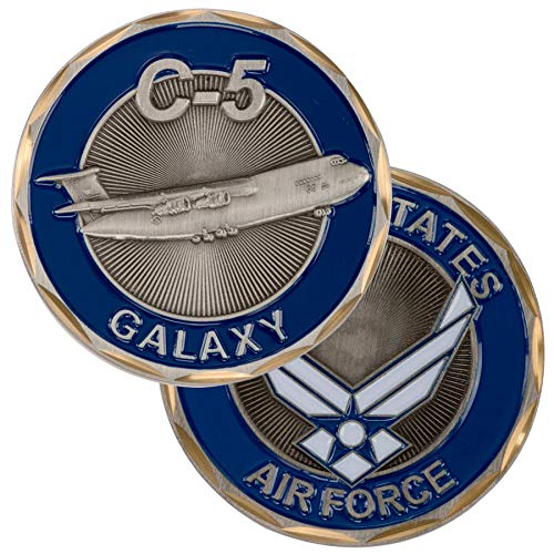United States Military US Armed Forces Air Force C-5 Galaxy Airplane - Good Luck Double Sided Collectible Challenge Pewter Coin