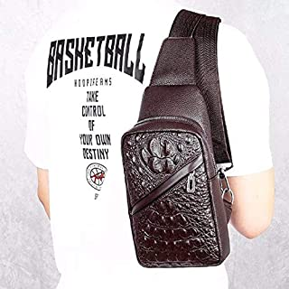 Fashion Single-Shoulder Bags Crocodile Texture PU Leather Single Shoulder Bag Men Chest Bag Handbag (Black) (Color : Brown)