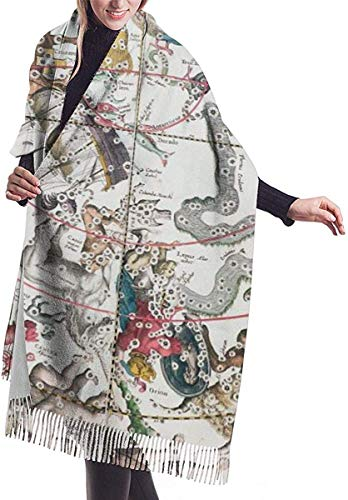 Irener Wickeldecke Schal, Scarf Map Of The Southern Hemisphere Womens Large Soft Cashmere Feel Shawls Wraps Light Stole