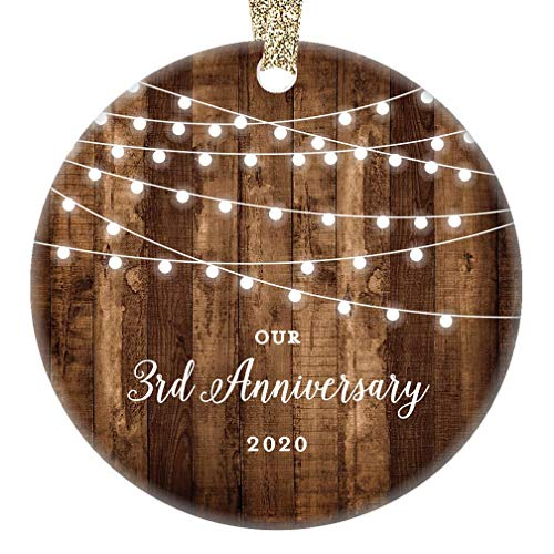 3rd Anniversary Gifts Dated 2020 Third Anniversary Married Christmas Ornament for Couple Mr & Mrs Rustic Xmas Farmhouse Collectible Present 3' Flat Circle Porcelain with Gold Ribbon & Free Gift Box