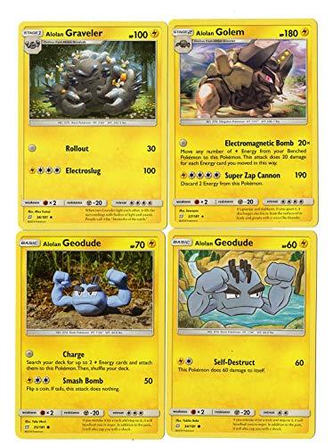 Sun Moon Team Up - Evolution Set - Alolan Golem 37/181 - Alolan Graveler & Alolan Geodude - Rare Card Lot