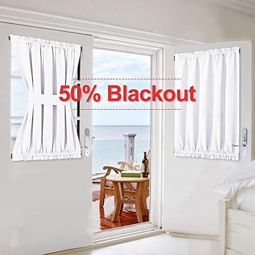 NICETOWN Patio Door Curtain Panel - Home Decoration Window Treatment French Side Door Panel Window Curtain (Pure White, 1 Panel, 54 inches Wide x 40 inches Long)