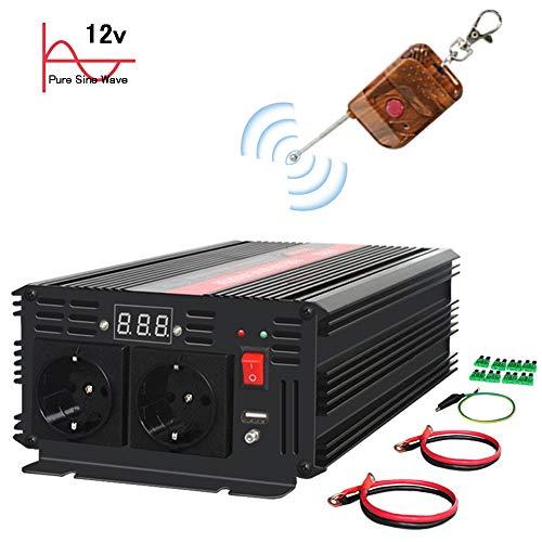 KRIPOL Inversor de Onda sinusoidal Pura 2000W-24V DC a 220/230V AC Inversor de Corriente del Coche con 2 Salidas de CA y 1 Salida USB2.1AH-Control Remoto inalámbrico y pantallaLED-Potencia Pico 4000W