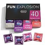 Durex Preservativos Fun Explosion Mixtos Sabor Fresa, Dame Placer, Sensitivo Suave y Contacto Total, 40 Condones, 52 y 56 mm