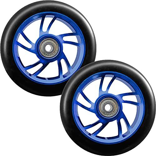 GAOJJ Ruedas de Repuesto para Scooter Pro Stunt Trick de 110 mm con rodamientos ABEC-9, aleación de Aluminio 6061-88A Elastic PU (2 Piezas),Azul