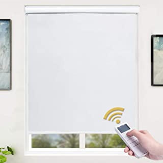SUNFREE Motorized Roller Shades 100% Blackout Roller Shades Wireless Rechargeable Shades Remote Control Window Shades for Home and Office, White 36 x 72 inch
