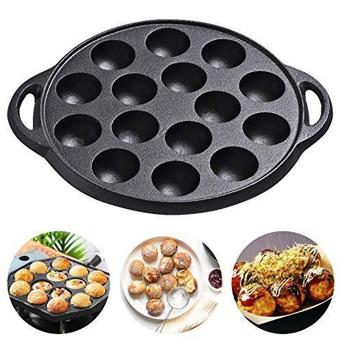 Cast Iron Pan Aebleskiver Pan, Nonstick TAKOYAKI Pan Grill Pan/Cooking Plate, Takoyaki Maker with 15 Compartment Holes for Baking Cooking 1 Pack