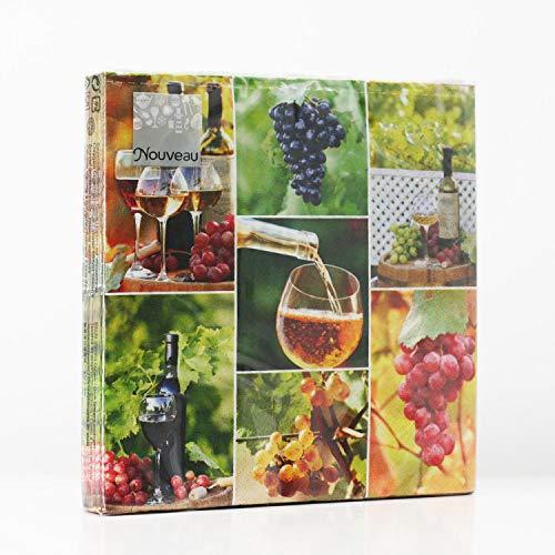 Nouveau 20 servilletas de Papel Desechables, diseño de Collage de Vino, 3 Capas, 33 x 33 cm
