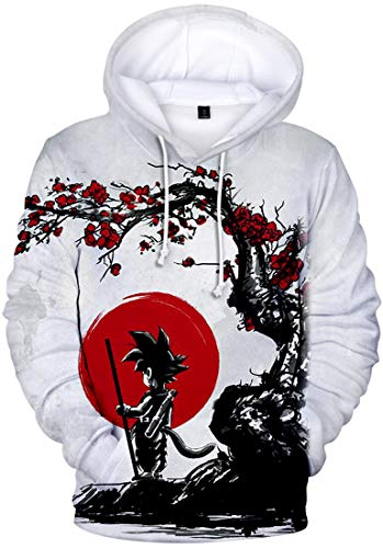 PANOZON Sudadera para Hombre Impresa Dragon Ball Chaqueta Deportiva Anime Japonés Estilo Casual (L, Sol 132)