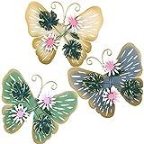 3 Artes de Pared de Mariposa de Metal Decoración de Mariposas de Jardín de Metal Decoración Colgante de Mariposas 3D de 3 Colores Interior Exterior para Hogar Jardín, Blanco, Azul y Verde