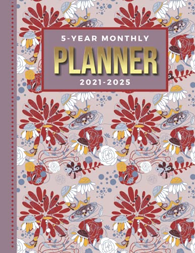 5-Year Monthly Planner 2021-2025: Dated 8.5x11 Calendar Book With Whole Month on Two Pages / Echinacea Coneflower - Flower Garden Art Pattern / ... - Charts / 60-Month Life Journal Diary Gift