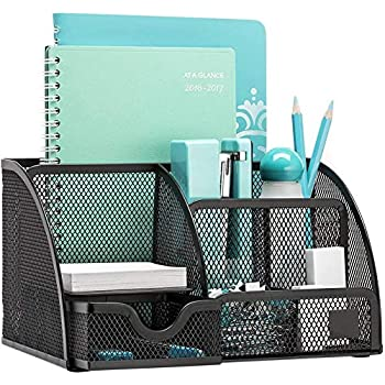 MeRaYo Metal Mesh Pen and Pencil Stationary Storage Tidy Desk Organizer Box with 6 Compartment for Home and Office Accessories (Black Color)