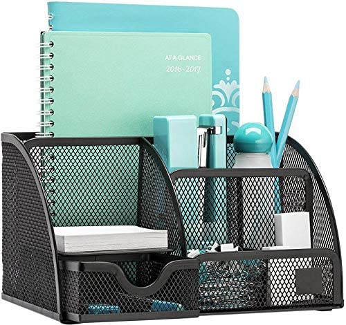 MeRaYo Metal Mesh Pen and Pencil Stationary Storage Tidy Desk Organizer Box with 6 Compartment for Home and Office Ac...