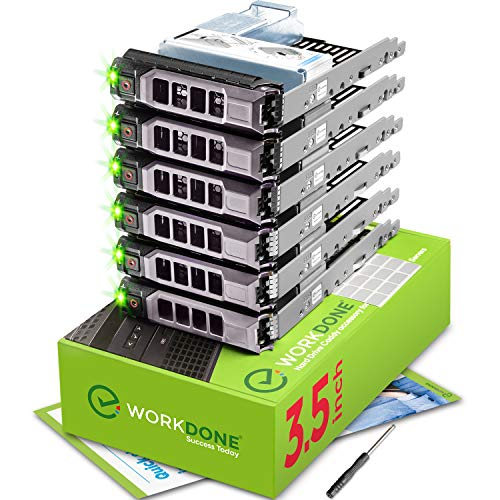 """WORKDONE Paquete 6 - Unidad Disco Duro 3,5"""" con Adaptador HDD 2,5"""" - Compatible Servidores DELL PowerEdge 11-13 Gen. Seleccionado - Manual, Etiquetas Adhesivas, Destornillador - Robustos Tornillos"""