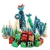 Belupai - Juego de 56 mini árboles de pino coloridos con base de madera y base de madera, caja de regalo de colores, pinceles de plástico para invierno, decoración de escritorio, manualidades