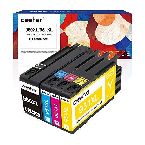 CSSTAR 4er-Pack Kompatibel Druckerpatronen Ersatz für HP 950 951 für OfficeJet Pro 8100 8600 8610 8620 8630 8640 8660 8615 8625 251dw 276dw Plus Drucker - Schwarz, Cyan, Magenta, Gelb