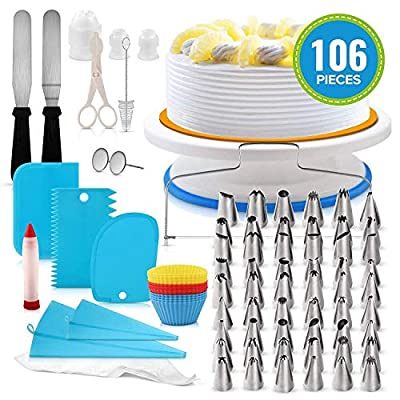 Cake Decorating Supplies Kit 172 Pcs with Rotating Turntable, 100 Pastry Bags, 48 Russian Frosting Piping Icing Tips, 6 Baking Cups, 3 Scrapers, Spatula, Baking Tools and Accessories Set. (106pcs)