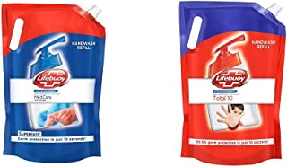 Lifebuoy Liquid Handwash Refill With 99.9% Germ Protection Fights Bacteria And Viruses, Total 10 & Mild Care, 1.5l + 1.5l