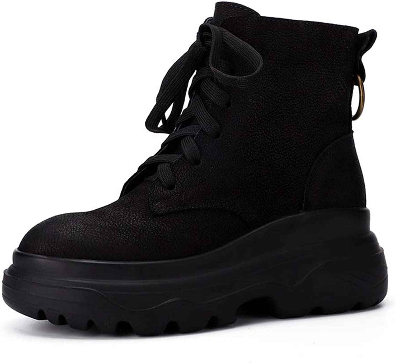 Women's Platform shoes Leather Winter New Retro Sports Boots Fashion Lace Scrub Boots Black (color   Black, Size   35)