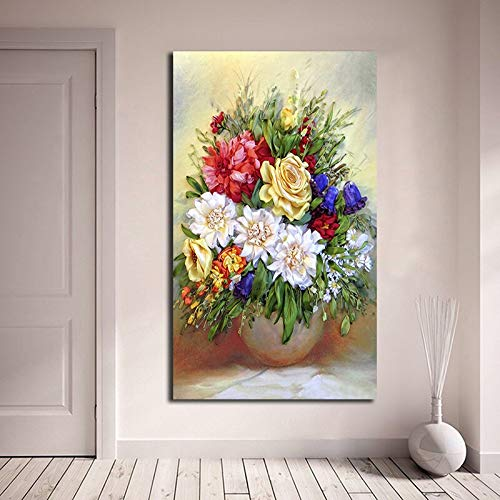ganlanshu Ramo de Flores en un jarrón Lienzo póster Moderno póster Sala de Estar decoración de la Pared,Pintura sin Marco,30X60cm