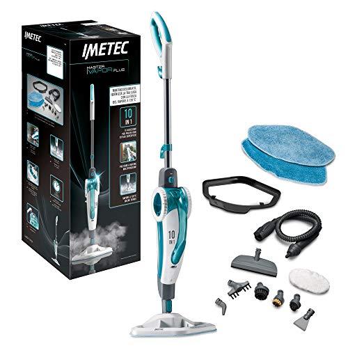 Imetec Master Plus SM02 Scopa Lavapavimenti 120°C, 10 Accessori, Generatore di Portatile, Pronto in Pochi Secondi, 2 Panni in Microfibra