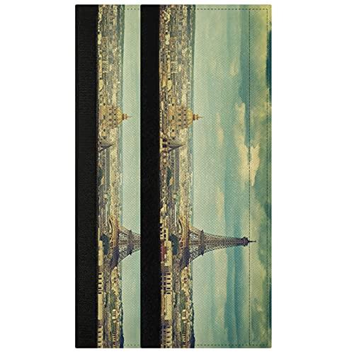 Oarencol Juego de 2 fundas para manija de la puerta de la torre Eiffel vintage, para decoración de electrodomésticos de cocina de madera para nevera, horno, lavavajillas