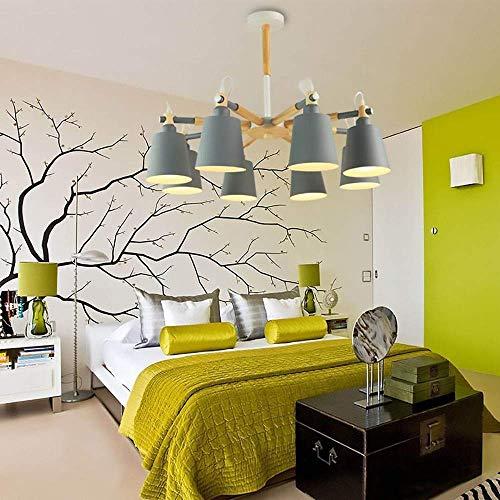 kroonluchter eenvoudige kunst slaapkamer led eiken lamp paal ijzer lampenkap eetkamer woonkamer kroonluchter decoratieve verlichting mooi
