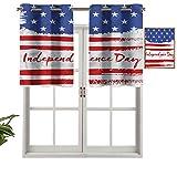 Hiiiman Cenefa de cortina para ventana de privacidad interior Happy Independence Day, juego de 1, 91,4 x 45,7 cm para puerta corredera de patio o comedor