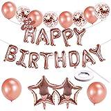 Banner de globo de feliz cumpleaños, globos de cumpleaños autoinflables de oro rosa con globos de papel de aluminio / globos de confeti / globos de látex / cinta para niños, hombres, mujeres, fiesta