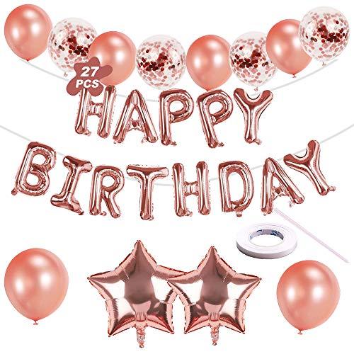 VDSOW Geburtstag Deko, Rosegold Happy Birthday Ballons Party Luftballons mit Folienballons Banner Girlande Latex Konfetti Ballons Band für Mädchen Jungen Kinder 1. 18. 21. 30. 40. 50. Geburtstagsdeko